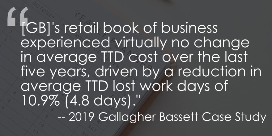 When we looked at our retail book of business we found virtually no change in average TTD cost over the last five years, driven by a reduction in average TTD lost work days of 10.9% (4.8 days).