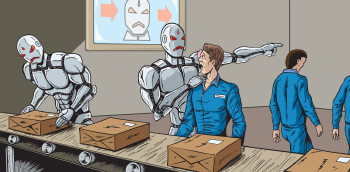 Cartoon of a Robot Angrily Making A Human Worker Leave a Production Line