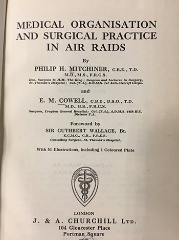 Photo of title page in a book titled Medical Organization and Surgical Practice in Air Raids
