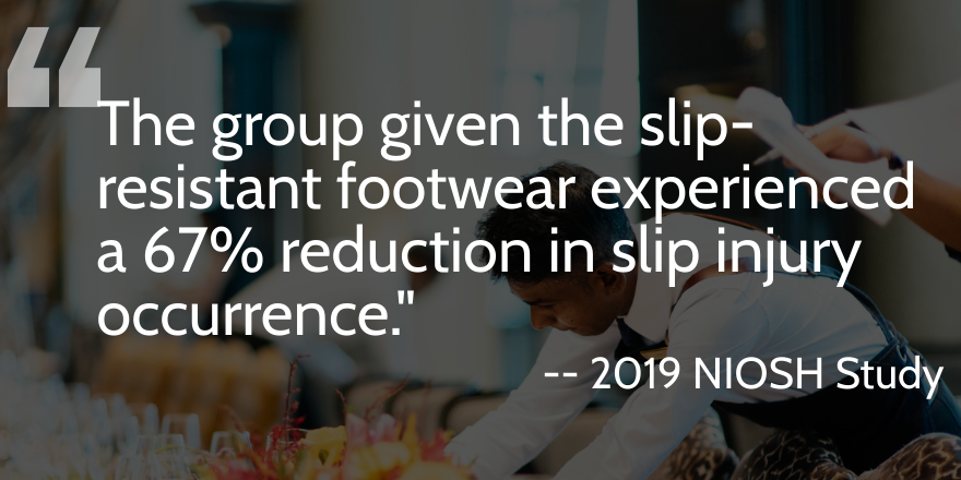 The group given the slip-resistant footwear experienced a 67% reduction in slip injury occurrence.