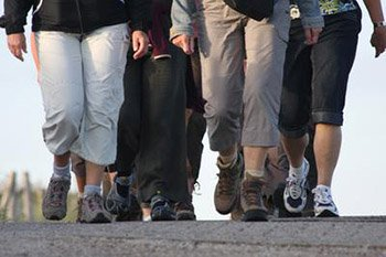 Photograph of a group of people's legs who are walking'