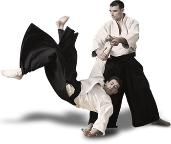 A photo of two aikido fighters