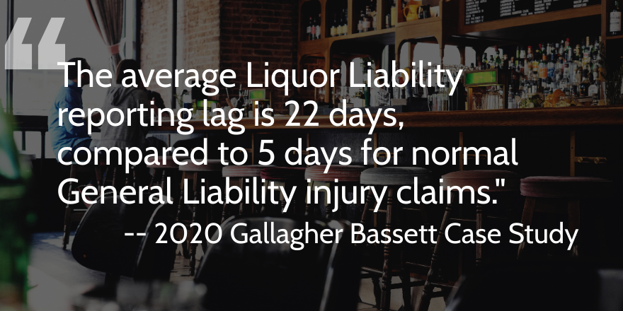 Within GB's restaurant book of business, the average LL reporting lag is 22 days, compared to 5 days for normal General Liability injury claims.