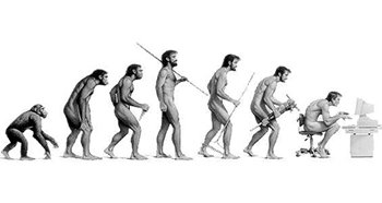 a drawing of a human evolution as depiected by Dawin, but with a twist. the standard chimp to missing link to caveman to homo sapien with no tool to homo sapien with tools is there, but now there is one more human sitting at a computer at the end of the evolution