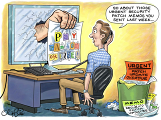 a  cartoon of a man sitting at a computer saying 'so about those urgent security patch memos you sent last week...' with an arm sticking out of his computer monitor saying 'PAY RANDOM HERE' with a trashcan next to the computer desk, hodling discarded patch update due memos