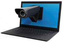 a photo of a computer with a security camera coming out of it